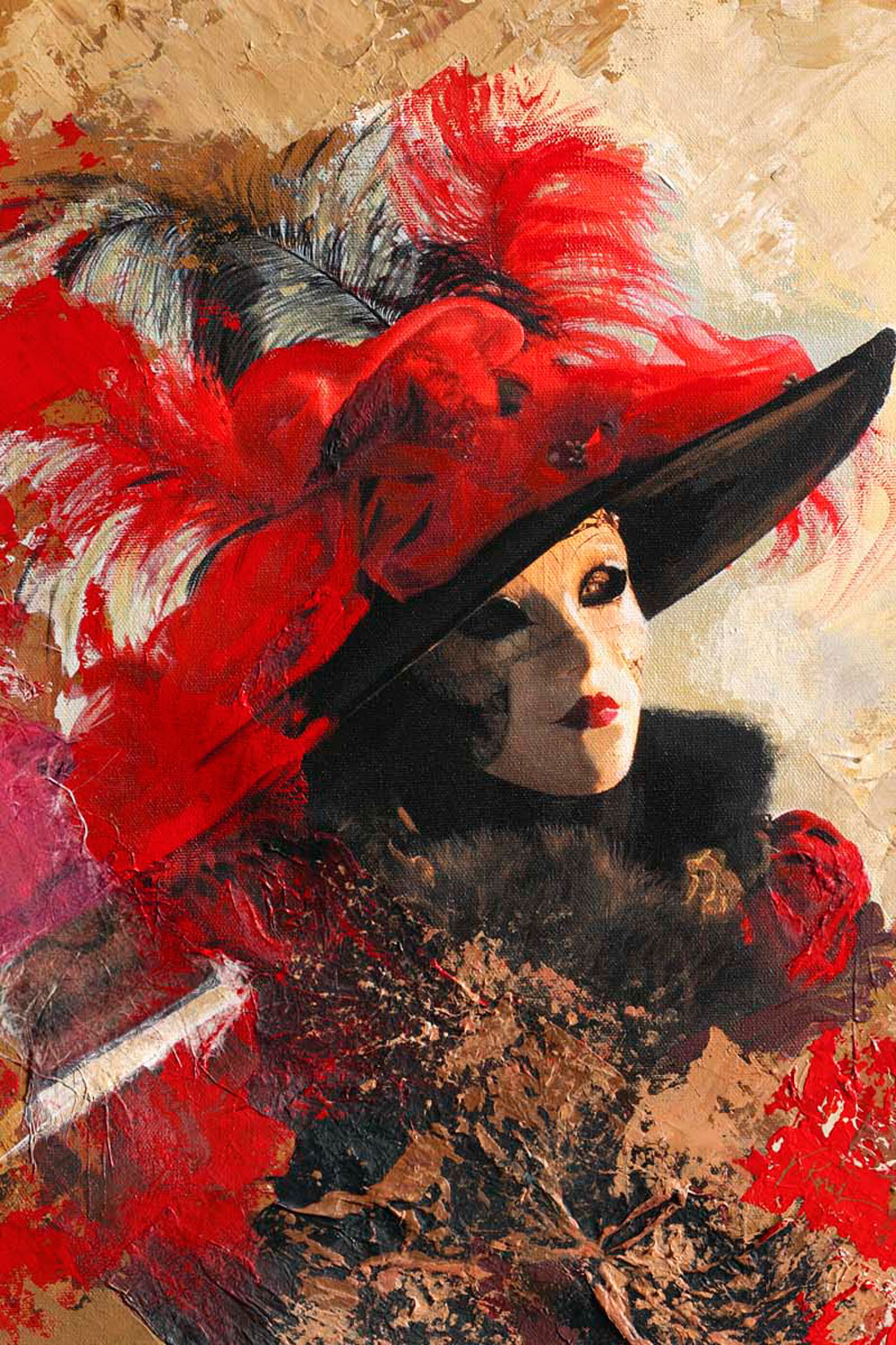 Red Feather Hat Mixed Media
